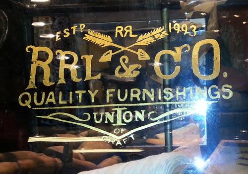 glass signs double rl omotesando tokyo 23k gold leaf window lettering